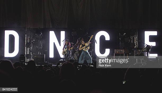 Musicians JinJoo Lee Jack Lawless singer Joe Jonas and Cole Whittle of DNCE perform in concert at the Frank Erwin Center on June 17 2016 in Austin...