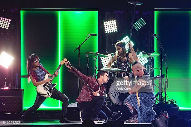 Musicians JinJoo Lee singer Joe Jonas Jack Lawless and Cole Whittle of DNCE perform in concert at the Frank Erwin Center on June 17 2016 in Austin...
