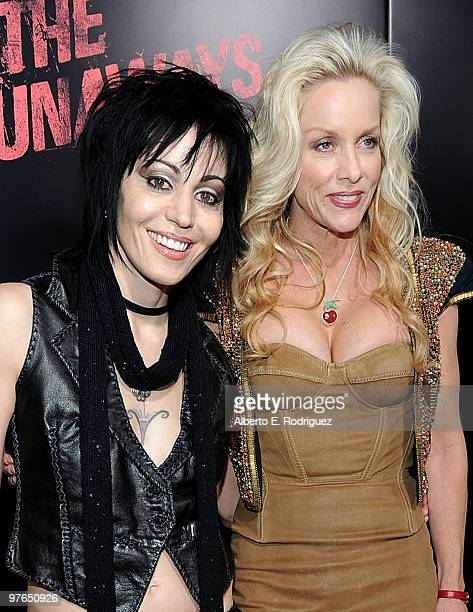 Musicians Joan Jett and Cherie Currie arrive at the premiere of Apparition's 'The Runaways' held at ArcLight Cinemas Cinerama Dome on March 11 2010...