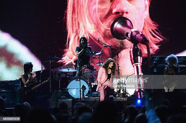 Musicians Joan Jett Dave Grohl of Nirvana Lorde and St Vincent perform onstage at the 29th Annual Rock And Roll Hall Of Fame Induction Ceremony at...
