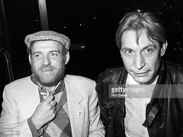 Musicians Joe Cocker and Charlie Watts of the Rolling Stones sighted on December 5 1983 at the Westwood Marquis Hotel in Westwood California