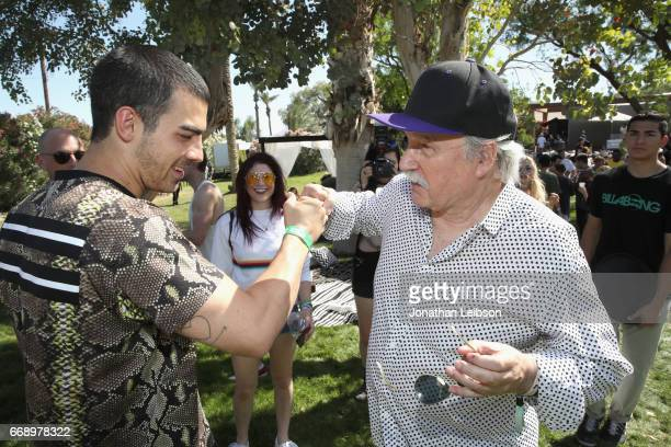 Musicians Joe Jonas and Giorgio Moroder attend The Hyde Away hosted by Republic Records SBE presented by Hudson and bareMinerals during Coachella on...