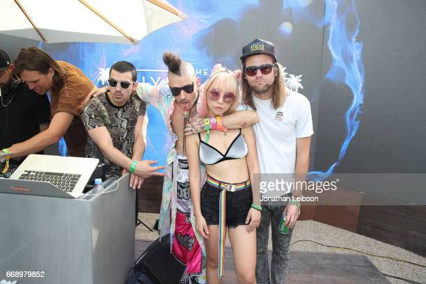 Musicians Joe Jonas Cole Whittle JinJoo Lee and Jack Lawless of DNCE attends The Hyde Away hosted by Republic Records SBE presented by Hudson and...