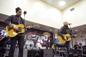Musicians Joe King and Isaac Slade of the band The Fray perform at 'PLJ's 20th Annual Scott Todd's Live broadcast/auction at Blythedale Children's...