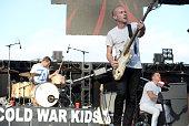 Musicians Joe Plummer Matt Maust and Nathan Willett of the band Cold War Kids perform onstage during KROQ's Weenie Roast at Irvine Meadows...