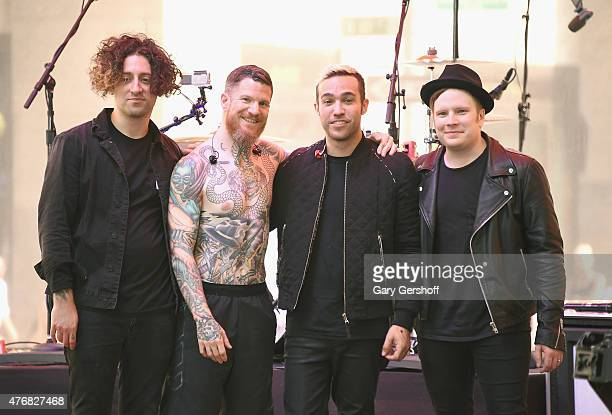 Musicians Joe Trohman Andy Hurley Pete Wentz and Patrick Stump of Fall Out Boy pose for pictures after performing on NBC's 'Today' at the Rockefeller...