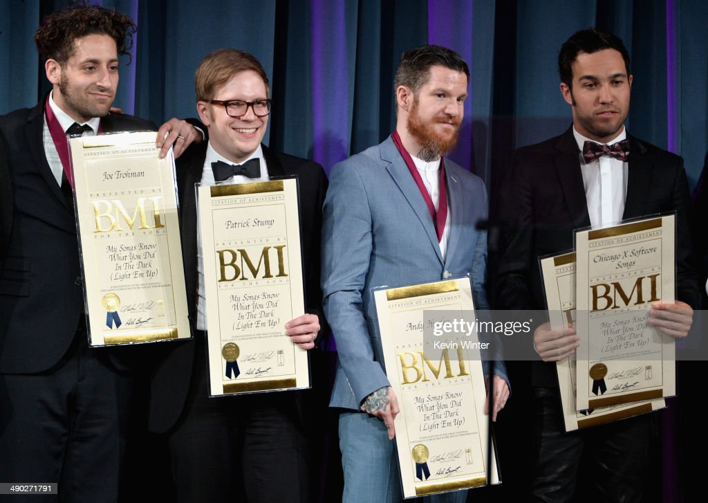 Musicians <a gi-track='captionPersonalityLinkClicked' href=/galleries/search?phrase=Joe+Trohman&family=editorial&specificpeople=557077 ng-click='$event.stopPropagation()'>Joe Trohman</a>, <a gi-track='captionPersonalityLinkClicked' href=/galleries/search?phrase=Patrick+Stump&family=editorial&specificpeople=557078 ng-click='$event.stopPropagation()'>Patrick Stump</a>, Andy Hurley and <a gi-track='captionPersonalityLinkClicked' href=/galleries/search?phrase=Pete+Wentz&family=editorial&specificpeople=595892 ng-click='$event.stopPropagation()'>Pete Wentz</a> of Fall Out Boy accept the 2014 BMI Pop Award onstage at the 62nd annual BMI Pop Awards at the Regent Beverly Wilshire Hotel on May 13, 2014 in Beverly Hills, California.