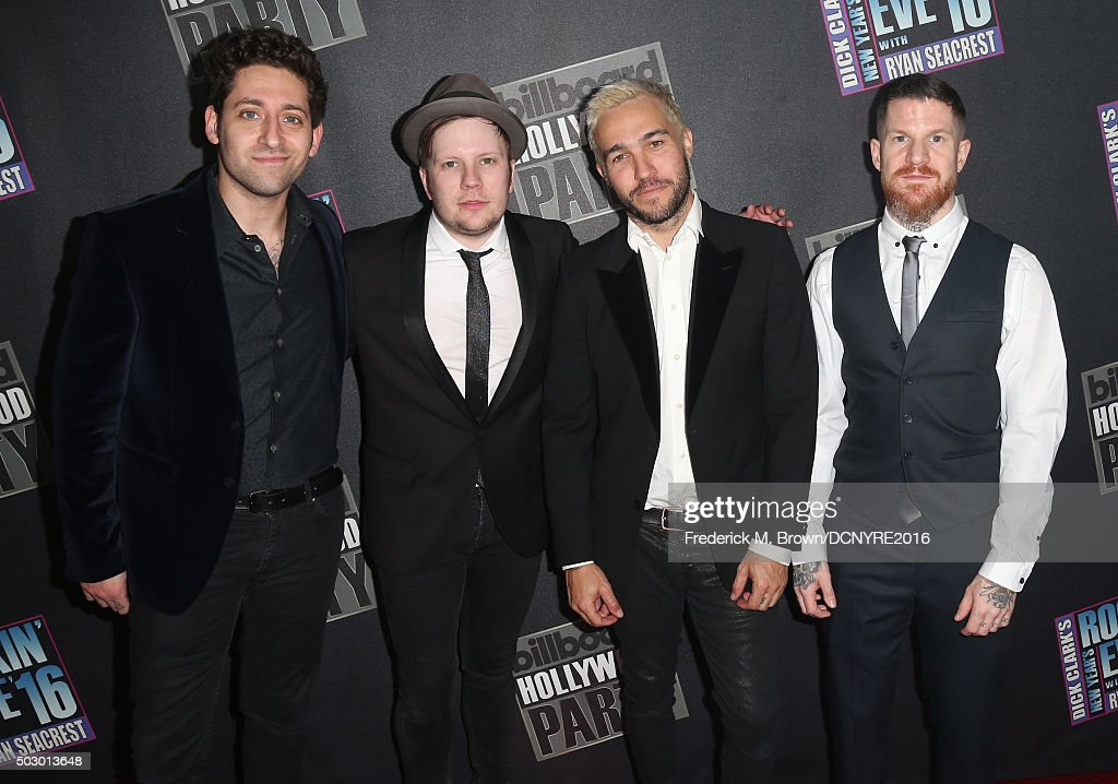 Musicians Joe Trohman, Patrick Stump, Pete Wentz and Andy Hurley of Fall Out Boy attend Dick Clark's New Year's Rockin' Eve with Ryan Seacrest 2016 on December 31, 2015 in Los Angeles, CA.