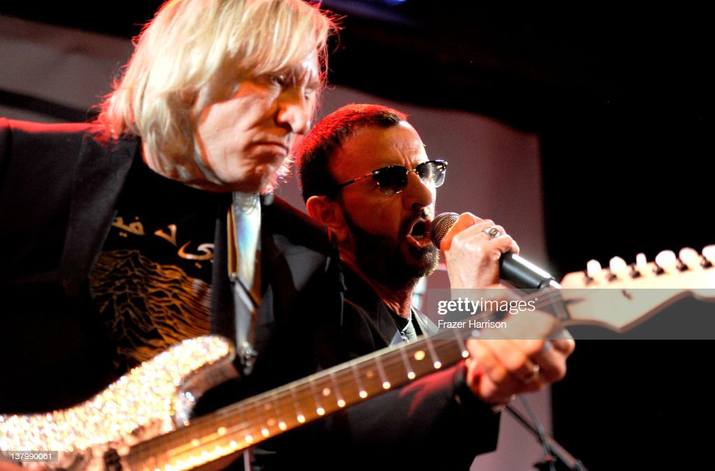 Musicians <a gi-track='captionPersonalityLinkClicked' href=/galleries/search?phrase=Joe+Walsh+-+Singer&family=editorial&specificpeople=223888 ng-click='$event.stopPropagation()'>Joe Walsh</a> and <a gi-track='captionPersonalityLinkClicked' href=/galleries/search?phrase=Ringo+Starr&family=editorial&specificpeople=92463 ng-click='$event.stopPropagation()'>Ringo Starr</a> perform at 'SiriusXM's Town Hall With <a gi-track='captionPersonalityLinkClicked' href=/galleries/search?phrase=Ringo+Starr&family=editorial&specificpeople=92463 ng-click='$event.stopPropagation()'>Ringo Starr</a>' And Host Russell Brand And Moderator Don Was Live On SiriusXM's The Spectrum Channel performs at Troubadour on January 30, 2012 in West Hollywood, California.