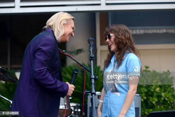 Musicians Joe Walsh of The Eagles and Jenny Lewis celebrate Ringo Starr's 77th birthday at the annual 'Peace Love' celebration at Capitol Records...
