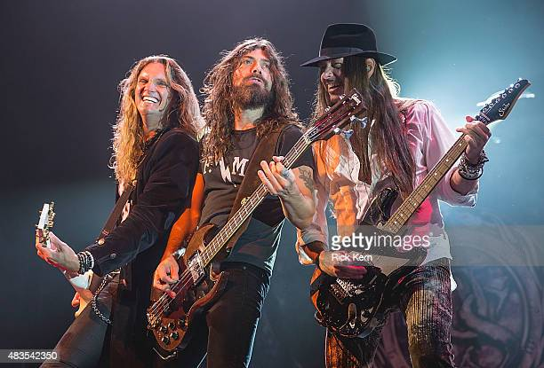 Musicians Joel Hoekstra Michael Devin and Reb Beach of Whitesnake perform in concert at ACL Live on August 9 2015 in Austin Texas
