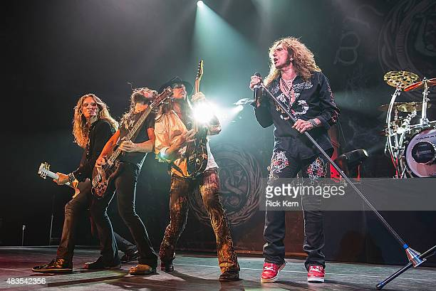 Musicians Joel Hoekstra Michael Devin Reb Beach and singersongwriter David Coverdale of Whitesnake perform in concert at ACL Live on August 9 2015 in...