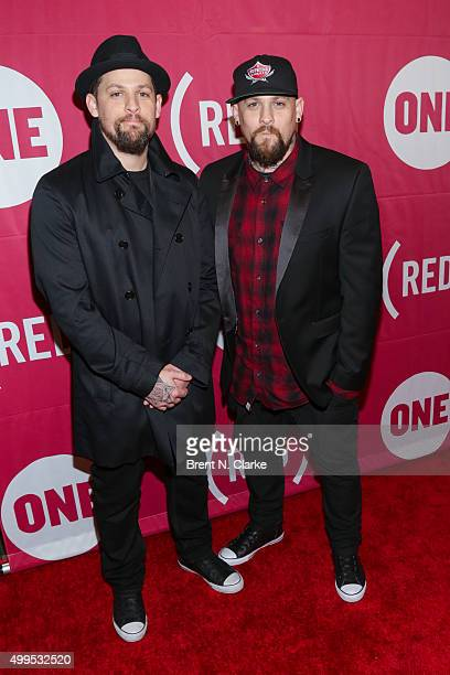 Musicians Joel Madden and Benji Madden attend ONE and 's 'It Always Seems Impossible Until It Is Done' event held at Carnegie Hall on December 1 2015...