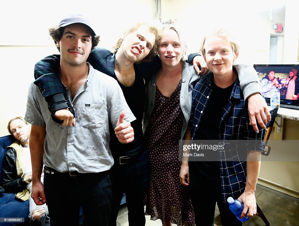 Musicians Joey Armstrong, Sebastian Mueller, Cole Becker, and Max Becker of SWMRS attend MTV's 'Wonderland' LIVE Show on October 27, 2016 in Los Angeles, California.