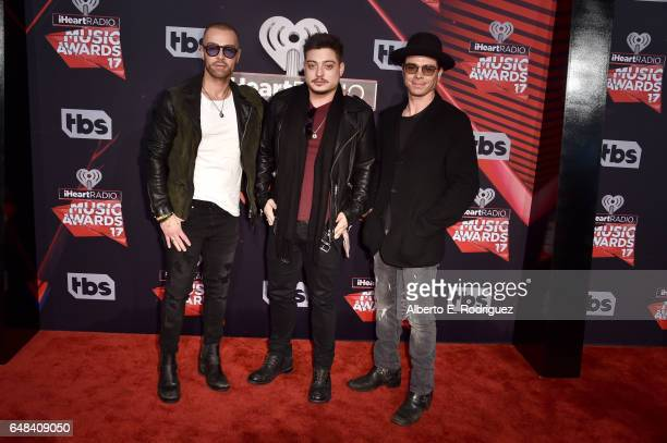 Musicians Joey Lawrence Andrew Lawrence and Matthew Lawrence of The Lawrence Brothers attend the 2017 iHeartRadio Music Awards which broadcast live...