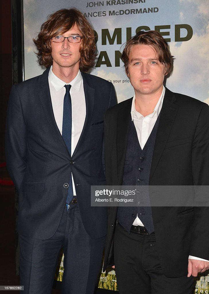 Musicians Joey Ryan and Kenneth Pattengale of The Milk Carton Kids arrive to the premiere of Focus Features' 'Promised Land' at the Directors Guild Of America on December 6, 2012 in Los Angeles, California.