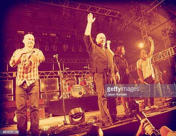 Musicians Joey Santiago Black Francis Paz Lenchantin and David Lovering of Pixies perform onstage during day 2 of the 2014 Coachella Valley Music...