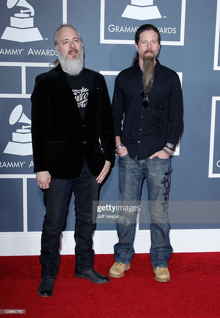 Musicians John Campbell and Chris Adler of <a gi-track='captionPersonalityLinkClicked' href=/galleries/search?phrase=Lamb+of+God+-+Groupe&family=editorial&specificpeople=207713 ng-click='$event.stopPropagation()'>Lamb of God</a> arrive at The 53rd Annual GRAMMY Awards held at Staples Center on February 13, 2011 in Los Angeles, California.