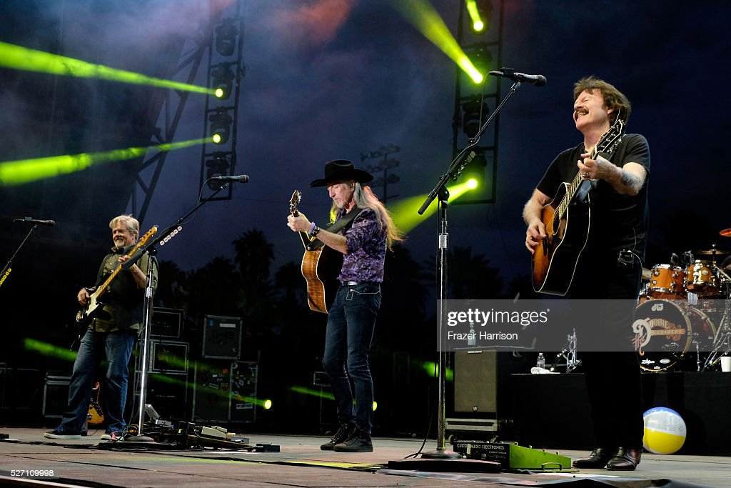 Musicians John Cowan, Patrick Simmons and Tom Johnston of The Doobie Brothers perform onstage during 2016 Stagecoach California's Country Music Festival at Empire Polo Club on May 01, 2016 in Indio, California.