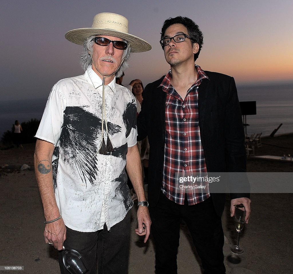 Musicians John Densmore (L) and M. Ward attend the 10 Years of Toyota Prius Anniversary Celebration at Wright Organic Resource Center on October 10, 2010 in Malibu, California.