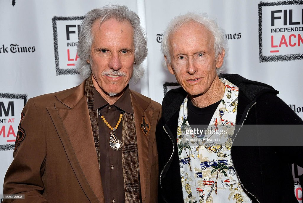 Musicians John Densmore (L) and Robby Krieger attend the Film Independent at LACMA Presents An Evening With The Doors event at Bing Theatre At LACMA on December 5, 2013 in Los Angeles, California.
