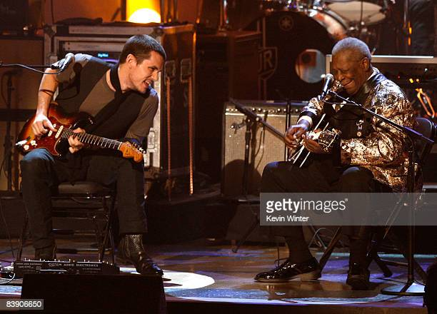 Musicians John Mayer and BB King perform onstage during the Grammy Nominations concert live held at the Nokia Theatre LA Live on December 3 2008 in...