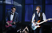 Musicians John Mayer and Ed Sheeran perform onstage during The 57th Annual GRAMMY Awards at STAPLES Center on February 8 2015 in Los Angeles...