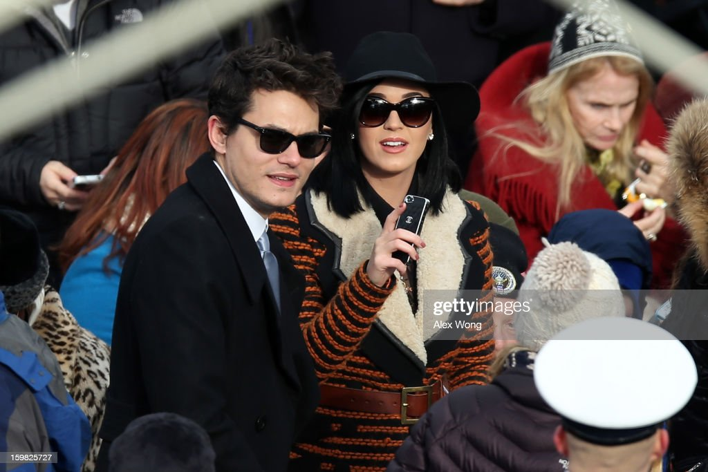 Musicians John Mayer and Katy Perry attend the presidential inauguration on the West Front of the U.S. Capitol January 21, 2013 in Washington, DC. Barack Obama was re-elected for a second term as President of the United States.