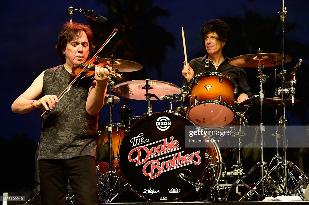Musicians John McFee (L) and Tony Pia of The Doobie Brothers perform onstage during 2016 Stagecoach California's Country Music Festival at Empire Polo Club on May 01, 2016 in Indio, California.