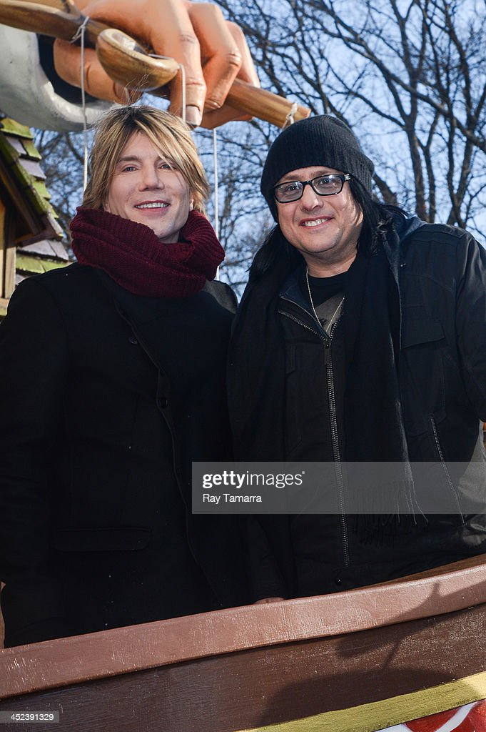 Musicians John Rzeznik (L) and Robby Takac of Goo Goo Dolls attends the 87th Annual Macy's Thanksgiving Day Parade on November 28, 2013 in New York City.