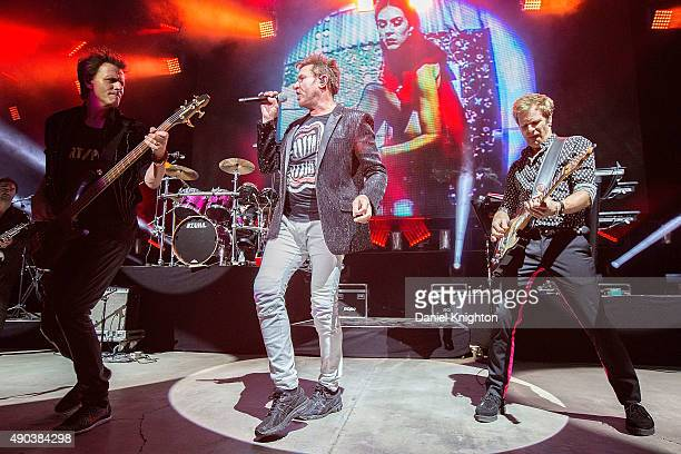 Musicians John Taylor Simon Le Bon and Dom Brown of Duran Duran perform on stage at Cal Coast Credit Union Open Air Theatre on September 27 2015 in...