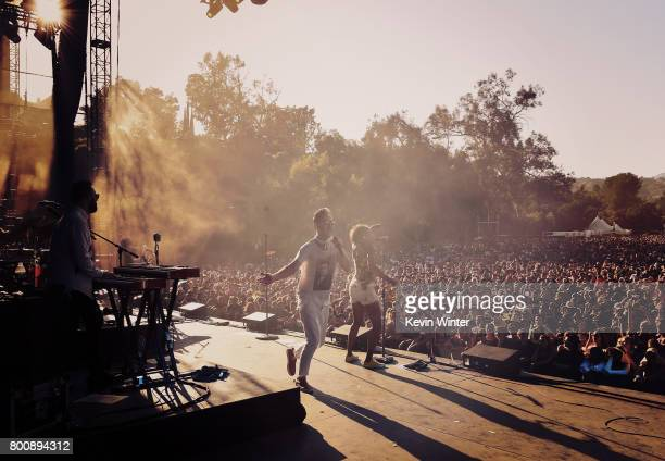 Musicians John Wicks Michael Fitzpatrick and Noelle Scaggs of musical group Fitz and The Tantrums perform on The Oak stage during Arroyo Seco Weekend...