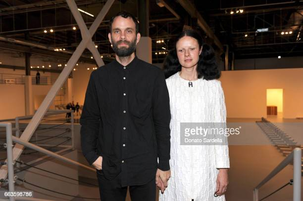 Musicians Jon Beasley and Isabelle Albuquerque attend MOCA's Leadership Circle and Members' Opening of 'Carl Andre Sculpture as Place 19582010' and...