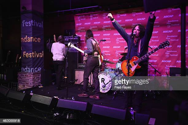 Musicians Jon LaRue Brian Bell and Nate Shaw of the band The Relationship perform at the Sundance ASCAP Music Cafe during the 2015 Sundance Film...