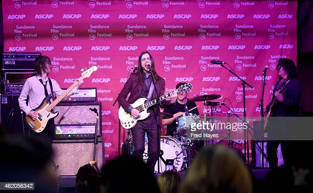 Musicians Jon LaRue Brian Bell Anthony Burulicich and Nate Shaw of the band The Relationship perform at the Sundance ASCAP Music Cafe during the 2015...