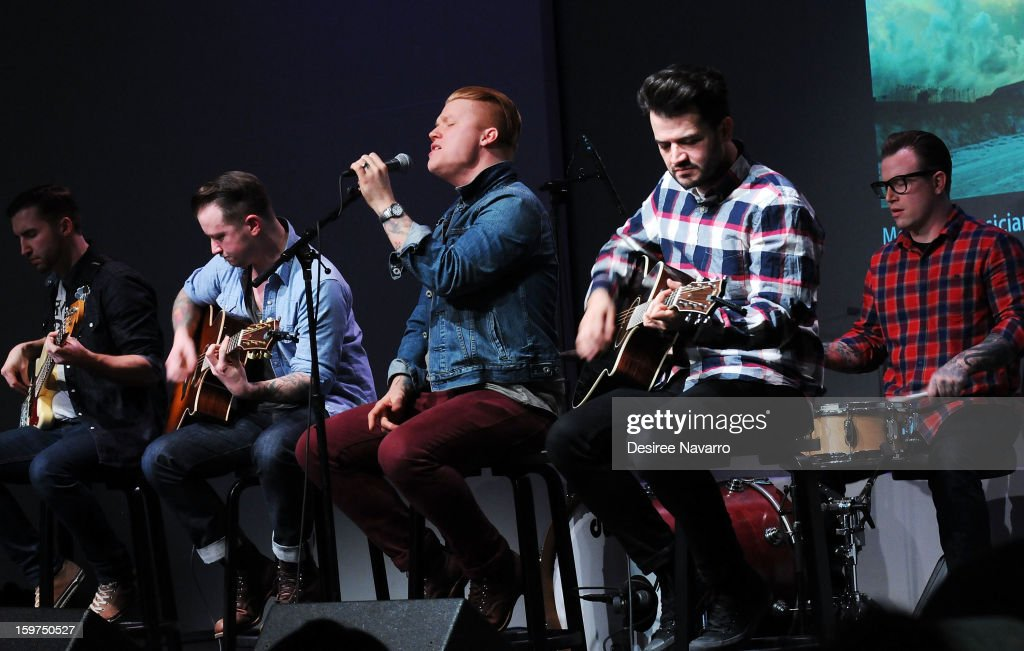 Musicians Jon Thompson, Dusty Redmon, <a gi-track='captionPersonalityLinkClicked' href=/galleries/search?phrase=Aaron+Gillespie&family=editorial&specificpeople=538897 ng-click='$event.stopPropagation()'>Aaron Gillespie</a>, Jay Vilardi and drummer Joe Musten of The Almost perform during Meet The Musicians at the Apple Store Soho on January 19, 2013 in New York City.
