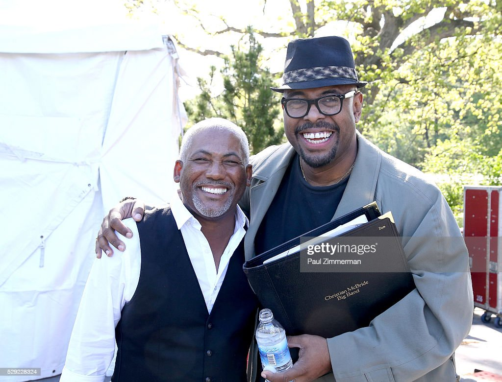 Musicians <a gi-track='captionPersonalityLinkClicked' href=/galleries/search?phrase=Jonathan+Butler+-+Musician&family=editorial&specificpeople=15259045 ng-click='$event.stopPropagation()'>Jonathan Butler</a> (L) and <a gi-track='captionPersonalityLinkClicked' href=/galleries/search?phrase=Christian+McBride&family=editorial&specificpeople=2558745 ng-click='$event.stopPropagation()'>Christian McBride</a> pose after a sound check prior to the GRAMMY Park - Big Band Remix on May 08, 2016 in Brooklyn, New York.