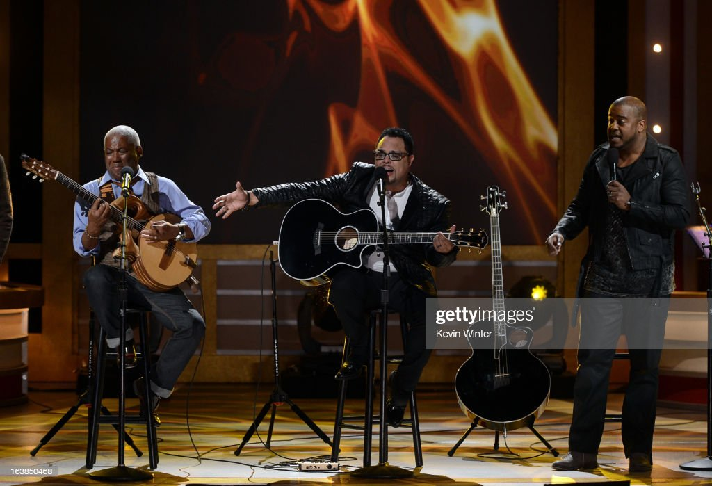 Musicians Jonathan Butler, Israel Houghton and Jason Nelson perform onstage during the BET Celebration of Gospel 2013 at Orpheum Theatre on March 16, 2013 in Los Angeles, California.