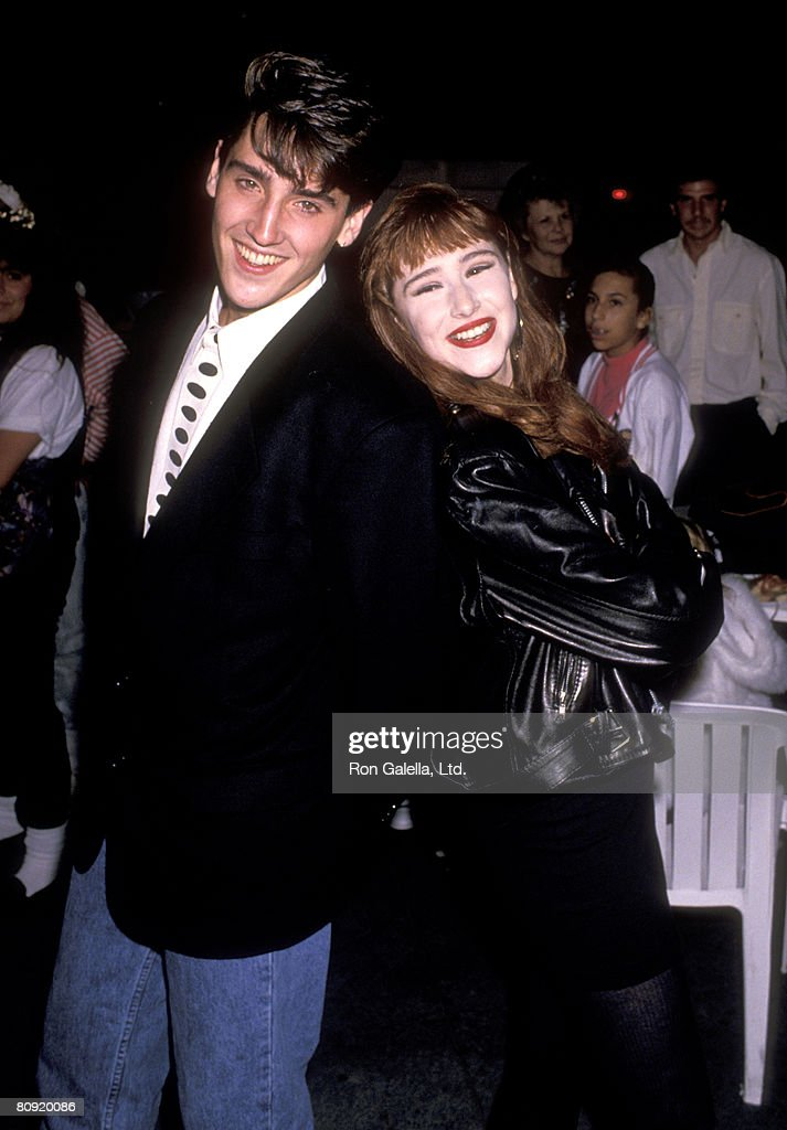 Musicians Jonathan Knight and Tiffany attend Tiffany's 18th Birthday Party on October 8, 1989 at Mel's Diner in Universal City, California.