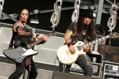 Musicians Jonathan Montoya and Wayne Swinny of Saliva perform during the 2009 Rock On The Range festival at Columbus Crew Stadium on May 16 2009 in...
