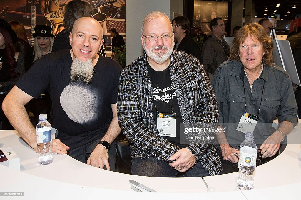 Musicians Jordan Rudess Mike Keneally and Keith Emerson attend an autograph session at NAMM Show Day 2 at Anaheim Convention Center on January 22...