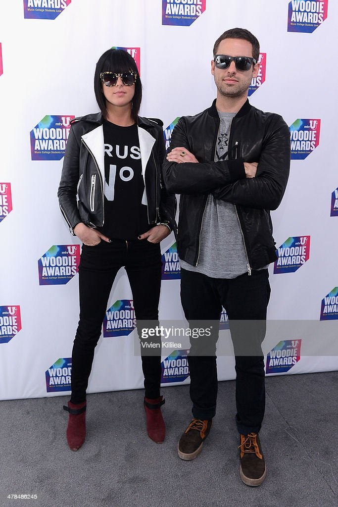 Musicians Josh Carter and Sarah Barthel of Phantogram attend the 2014 mtvU Woodie Awards and Festival on March 13 2014 in Austin Texas