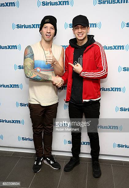 Musicians Josh Dun and Tyler Joesph of Twenty One Pilots visit at SiriusXM Studios on January 20 2017 in New York City