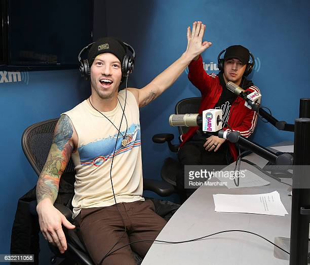 Musicians Josh Dun and Tyler Joesph of Twenty One Pilots visit SiriusXM's Hits 1 at SiriusXM Studios on January 20 2017 in New York City