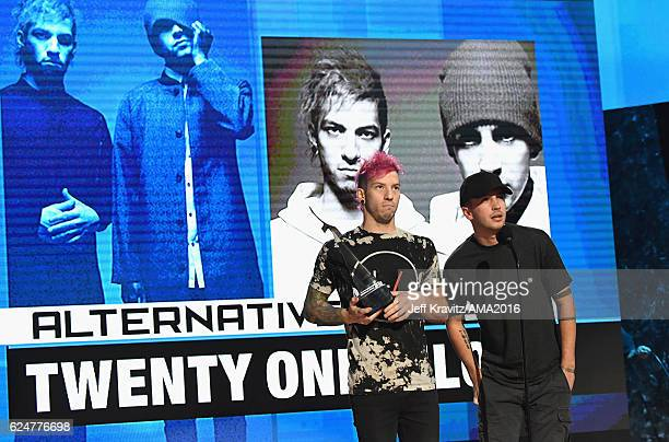 Musicians Josh Dun and Tyler Joseph of Twenty One Pilot onstage at the 2016 American Music Awards at Microsoft Theater on November 20 2016 in Los...