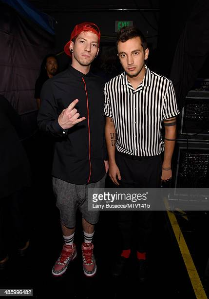 Musicians Josh Dun and Tyler Joseph of Twenty One Pilots attend the 2015 MTV Video Music Awards at Microsoft Theater on August 30 2015 in Los Angeles...