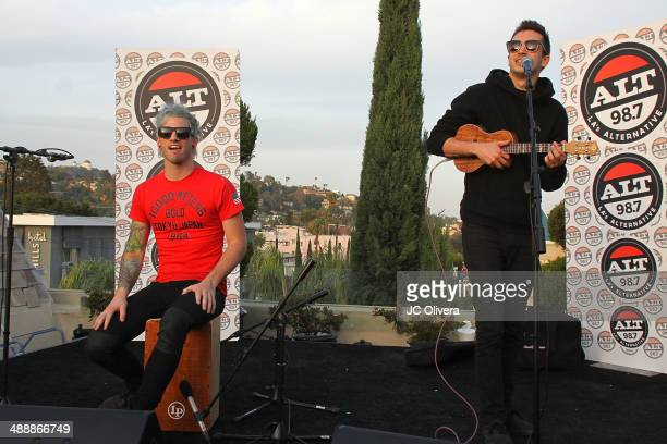Musicians Josh Dun and Tyler Joseph of Twenty One Pilots perform during ALT 987 Penthouse Party at The Historic Hollywood Tower on May 8 2014 in...