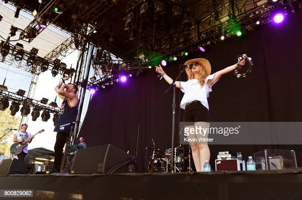 Musicians Josh Hogan Colin Louis Dieden and Katie Jayne Earl of musical group The Mowgli's perform on The Oak stage during Arroyo Seco Weekend at the...