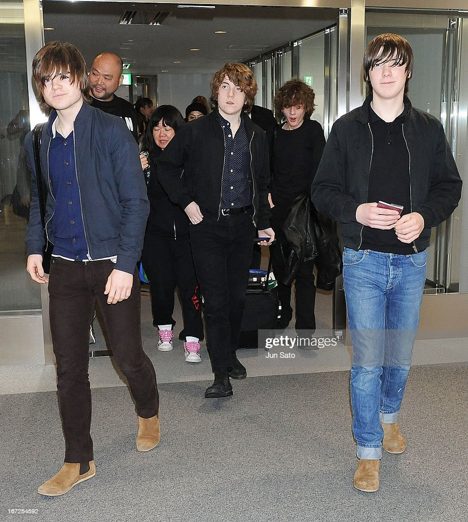 Musicians Josh McClorey, Pete O'Hanlon, Evan Walsh and Ross Farrelly of the Strypes arrive at Narita International Airport on April 23, 2013 in Narita, Japan.