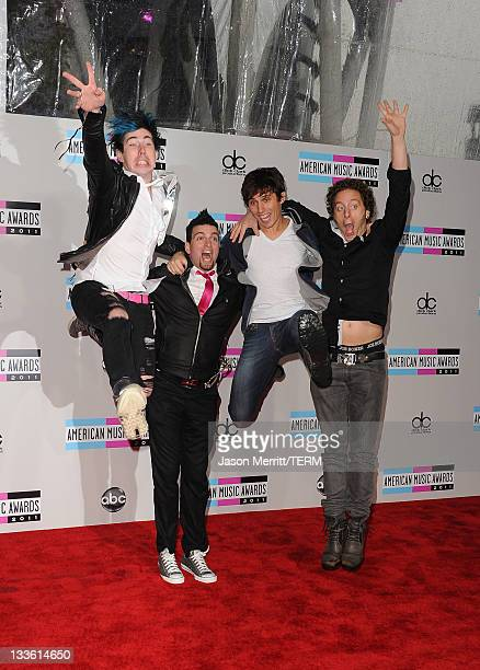 Musicians Josh Ramsay Mike Ayley Matt Webb and Ian Casselman of Marianas Trench arrives at the 2011 American Music Awards held at Nokia Theatre LA...